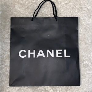 Auth Chanel CC logo gift paper bag string handles